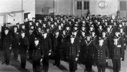 (Winnipeg, 1938) The Men of the Winnipeg Division, mustered in the Gertrude Avenue Barracks.