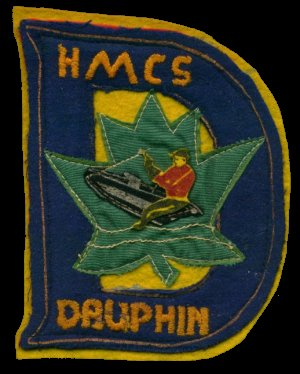 The unofficial ship's badge of HMCS DAUPHIN.