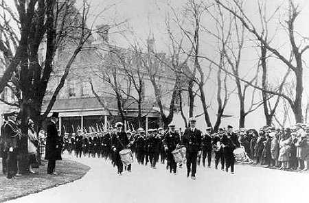 (Winnipeg, 1927) The Winnipeg Half Company marches past the Governor General of Canada.