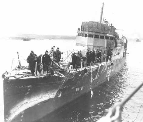 HMCS ST. CROIX returns to Halifax, damaged after encountering a hurricane. (December 1941)